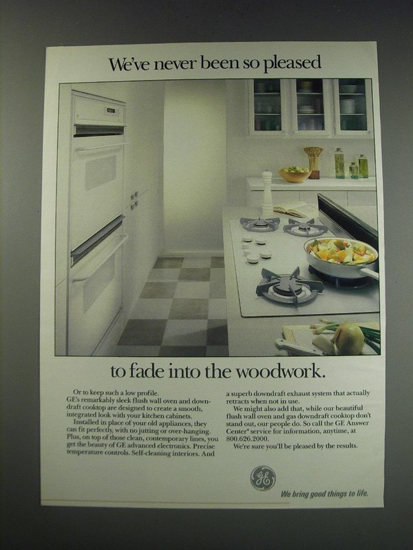 1991 GE Appliances Ad - We've never been so pleased to fade into the woodwork