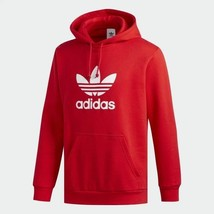 Adidas Originals Mens Trefoil Red Cozy Hoodie  DU7779 - $71.61
