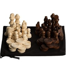 GrowUpSmart Staunton Style Chess & Checkers Pieces Set Made Of Wood In V... - $22.14
