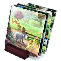 Thomas Kinkade Winnie the Pooh Prints 4 Piece Fused Glass Coaster Set w Holder image 1