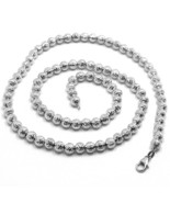 "18K WHITE GOLD CHAIN FINELY WORKED SPHERES 5 MM DIAMOND CUT, FACETED 18""... - $1,018.00"