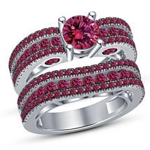 Pink Sapphire Engagement Ring Wedding Band Ring Set White Gold Finish 92... - $87.99