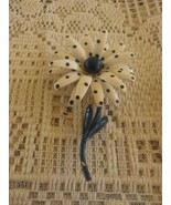 Vintage Flower Power White Navy Blue Polka Dots Daisy Flower Pin Brooch - $10.00