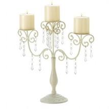 Glittering Crystals Graceful IVORY Elegance Candelabra Candle holder Cen... - $18.78