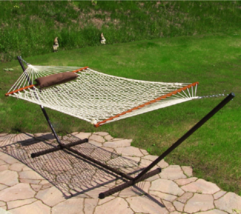 Outdoor Hammock Set Rope Pad Bed Stand Combo Pillow 12ft Stands Hammocks... - $255.15