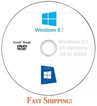 Windows 8.1 All Versions 32 & 64 bit  - Reinstall,  Recovery,  Repair DV... - $7.89