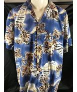 Hilo Hattie Hawaiian Aloha Shirt XL Blue Palms Ukulele Leis Coconut Buttons - $19.79