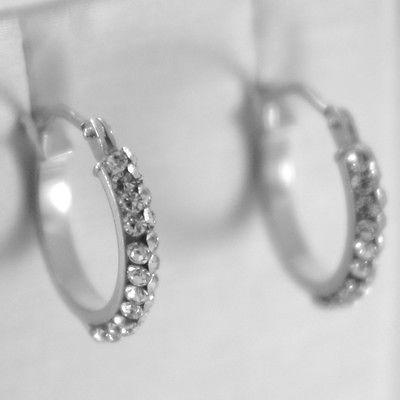 WHITE GOLD EARRINGS 750 18K CIRCLE, DIAMETER 1.4 CM, DOUBLE ROW ZIRCON