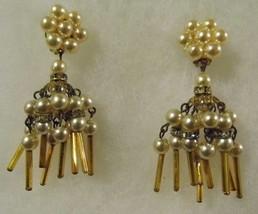 Vintage Pair Clip Earrings Pearl Diamond Like Dangling Costume Fashion J... - $14.66