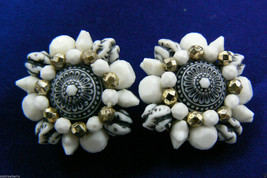VINTAGE MULTI WHITE COLOR ROUND PLASTIC BEADS CLIP EARRINGS GERMANY - $23.76