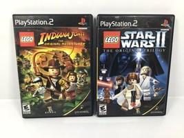 PS2 LEGO LOT: Star Wars II & Indiana Jones (Black Label) TESTED WORKS - $18.95