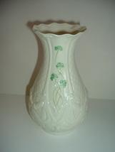 Belleek Shamrock Vase Designer Fiona Greene Signed Ireland - $99.00