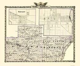 Stark  Marshall Illinois Landowner - Warner 1870 - 23 x 28.06 - $36.95+