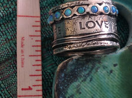 Love Life Joy Freedom Wide Sterling Silver Statement Ring Size Choice 7 or 8 image 10