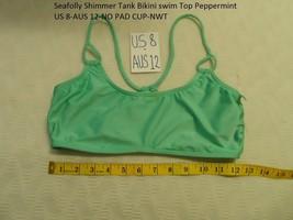 Seafolly Shimmer Tank Bikini swim Top Peppermint US 8-AUS 12-NO PAD CUP-NWT - $19.99