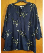 Jaclyn Smith Kimono Dark Blue Emboidered 3/4  Sleeve Draped Shirt Blouse - $15.83