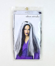 NIP PMG Black White Long Silver Streaks Witch Goth Halloween Costume Adu... - $8.90