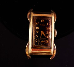 1920s Mens deco watch - runs - antique curved black and gold - Swiss mad... - $65.00