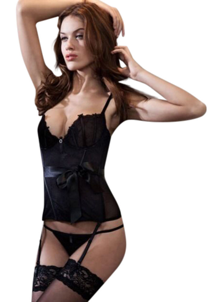 Ex High Street Lingerie Black Pure lace Corset & Ribbon suspenders 10 Uk,38 eur