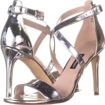 Nine West Mydebut Dress Heel Sandals 460, Silver, 7.5 US - $23.99