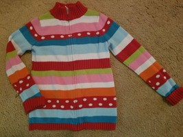 GYMBOREE Brightly Colored Striped Zip Front Cardigan Sweater Girls Size 5-6 - $6.79