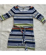 Banana Republic Dress Blue Green Striped Belted 3/4 Sleeve Size XS Career - $24.72