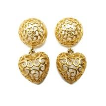 Vintage Large Gold Tone Filigree Drop Dangle Heart Earrings Statement - $13.85