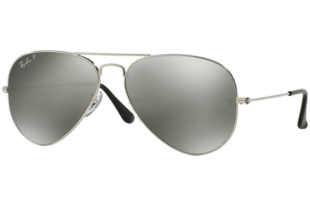 Neu Ray Ban Aviator RB3025 003/59 58mm Silber/Polarisierend Silber Spiegel