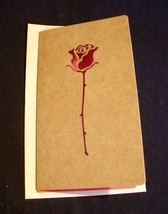 Greeting Card Red Rose blank - QUICK SHIP - $4.46