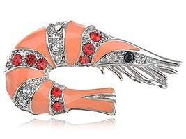 Alilang Silvery Tone Multi Color Rhinestones Peach Shrimp Crawfish Brooc... - $19.43