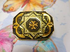 Vintage Toledo Spain Hammered Gold Damascene Rectangular Star/Cross Broo... - $14.95