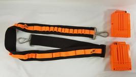 NERF Hasbro BANDOLIER AMMO BELT Orange / Black w/ 2 N Strike 6 round Amm... - $16.78