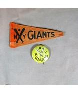 New York Giants (Baseball) ca 1950's Mini Felt Pennant and Pinback - $28.04