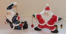 Vintage Ceramic Santa Claus Candle Stick Holders Set of 2