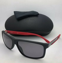 Polarized HUGO BOSS Sunglasses 0637/S HXA3H 60-15 Black Red-Carbon Fiber w/ Grey