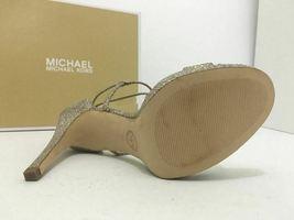 Michael Kors Simone Women's Evening High Heels Sandals Silver Sand Glitter 7 M image 9