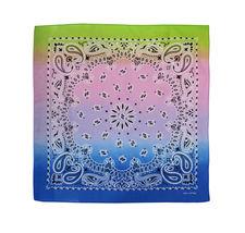 "12 Pack Gradient Rainbow Cotton Head Wrap Scarf Bandana Ombre Colors 22"" X 22"" image 8"