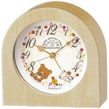 Rilakkuma Alarm Clock Analog Wooden frame natural color wood Gift Cute - $60.76