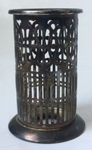 Silverplate Filigree Cylinder Hong Kong for Cobalt Salt Pepper Candlesti... - $14.95