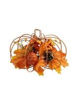 "12"" Autumn Harvest Orange and Yellow Floral Filled Pumpkin Table Decorat... - $28.99"