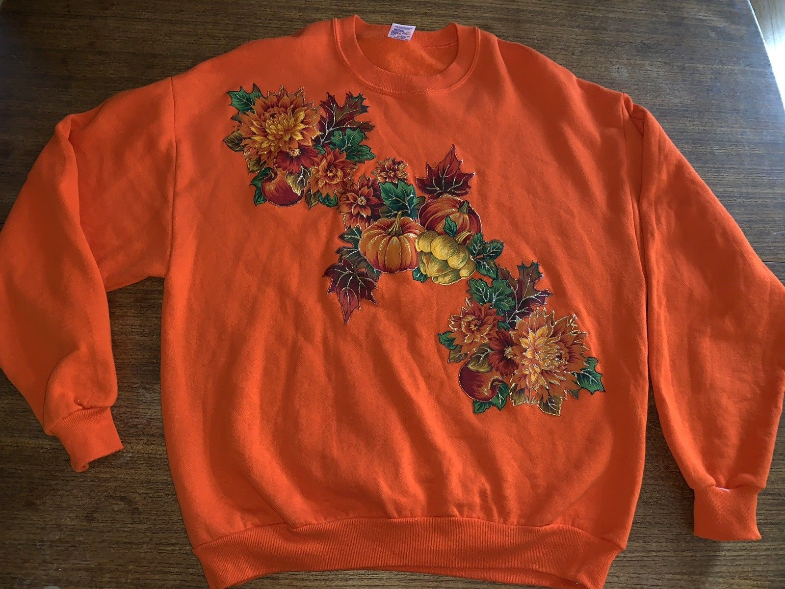 Autumn sweatshirt Orange Pumpkins Leaves Vintage XL USA Ugly Halloween