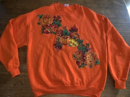 Autumn sweatshirt Orange Pumpkins Leaves Vintage XL USA Ugly Halloween - $21.38