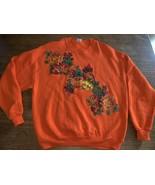 Autumn sweatshirt Orange Pumpkins Leaves Vintage XL USA Ugly Halloween - $21.38