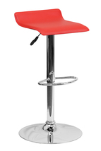 Offex Contemporary Red Vinyl Adjustable Height Bar Stool with Chrome Base - $70.70