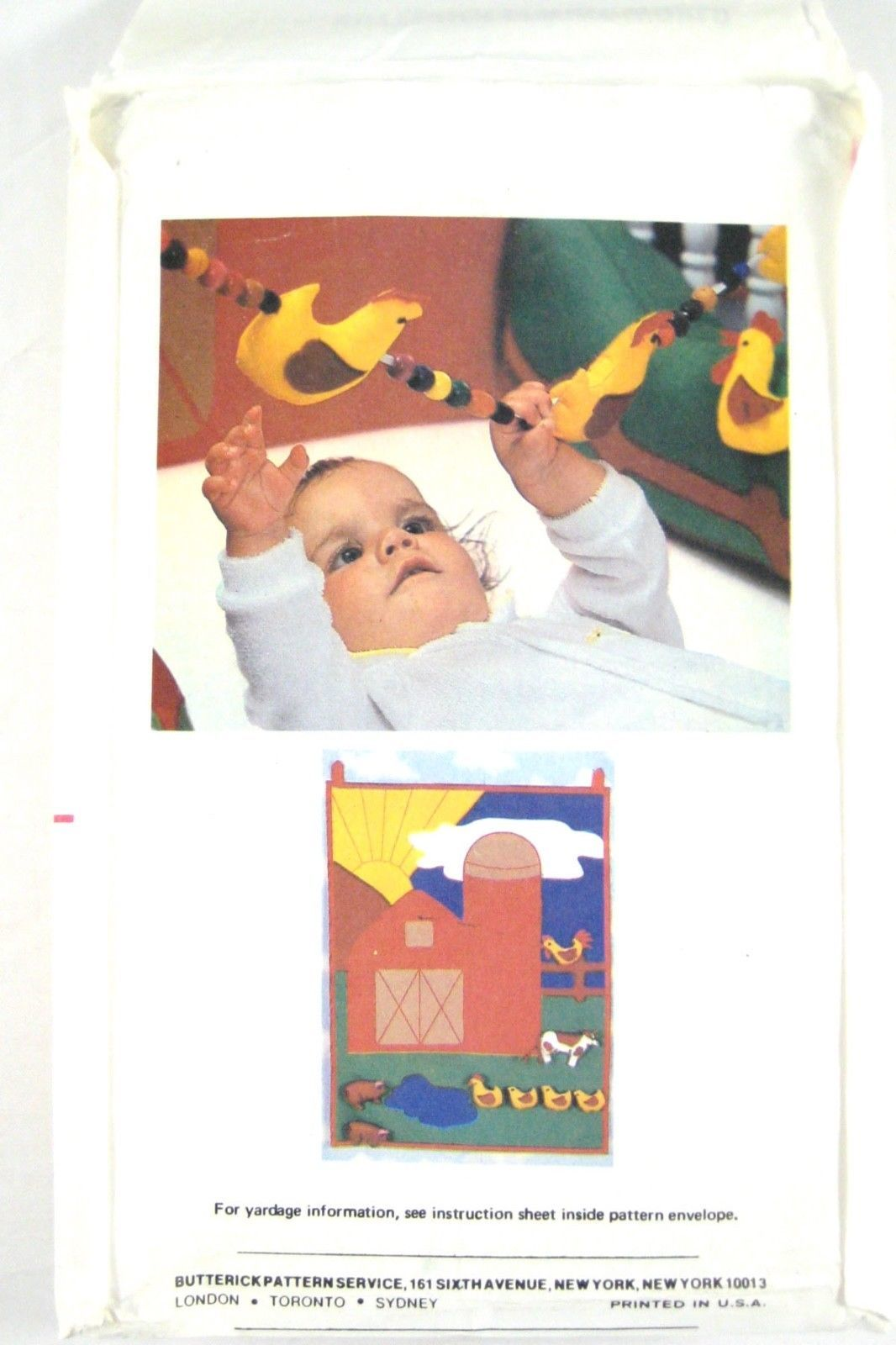 Vtg Butterick 6854 Baby Crib Bumper Mobile Wall Hanging Farm Cow Chicken Duck FF image 3
