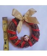 Small rustic wood natural grapevine primitive wreath with Pinocchio head... - $8.19