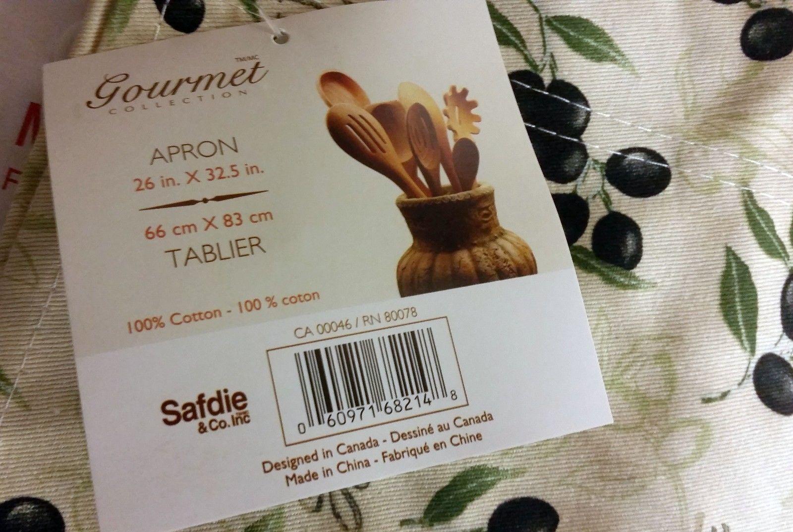 "Fabric Kitchen Apron (26"" x 33""), OLIVES, 100% Cotton"