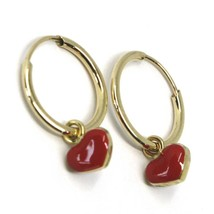 18K YELLOW GOLD CIRCLE HOOPS 13 MM EARRINGS WITH RED ENAMEL MINI HEART PENDANT image 2