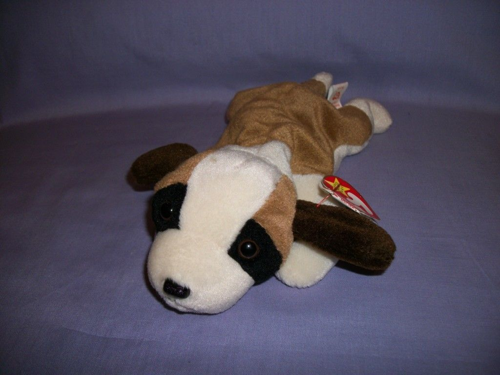TY Beanie Babies Bernie The Tan & White Dog With Hang Tag 10/3/96