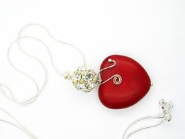 RED NECKLACE Red Howlite Heart Necklace for her stone jewelry Stone Pend... - $22.00